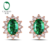 Caimao Classic Retro 18k Rose Gold 1.40ctw Natural Emerald Diamond Earrings Studs Gorgeous Jewelry