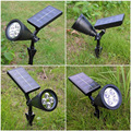 2016 New Arrival 2W 4 LEDs RGB Solar Light 100LM Solar Powered Spotlight Outdoor Landscape Lighting Power By 18650 Battery