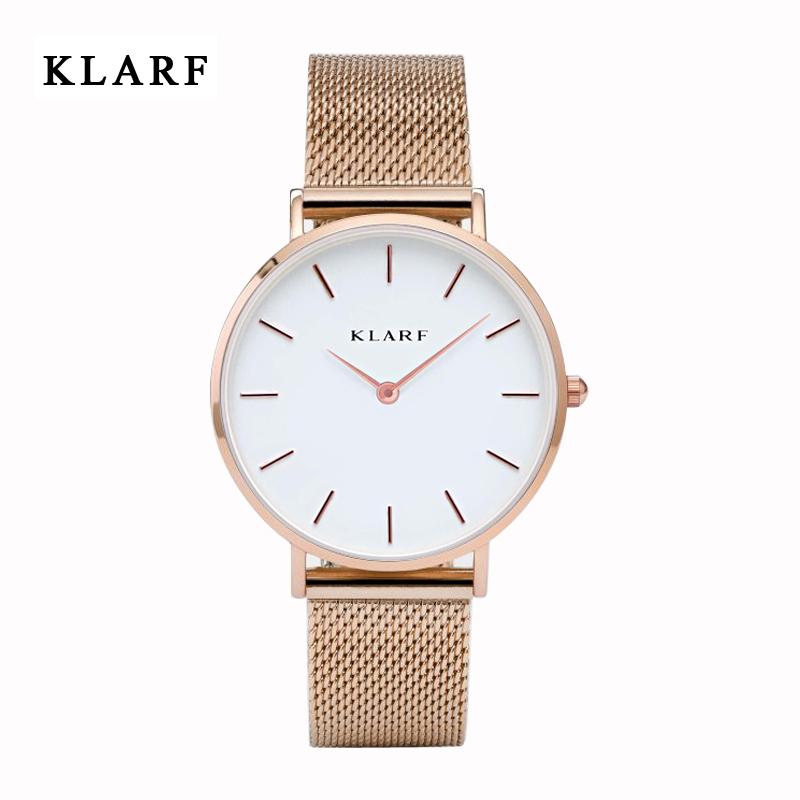 Women Watches Top Brand Luxury KLARF Stainless Steel Mesh Band Gold casual Watch Ladies Business quartz watch Relogio Feminino feitong luxury brand watches for women ladies watch full stainless steel gold mesh band wristwatch wristwatch relogio feminino