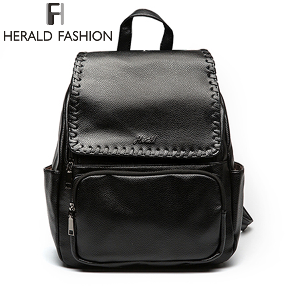 Herald Fashion Solid Women s Backpack PU Leather New Design School Backpack Large Capacity Women Purse