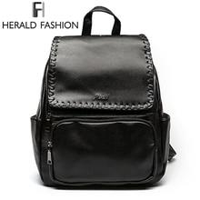Herald модные однотонные женские рюкзак Новые туфли из искусственной кожи Дизайн школьный рюкзак большой Ёмкость женщины кошелек студент Упаковка для леди