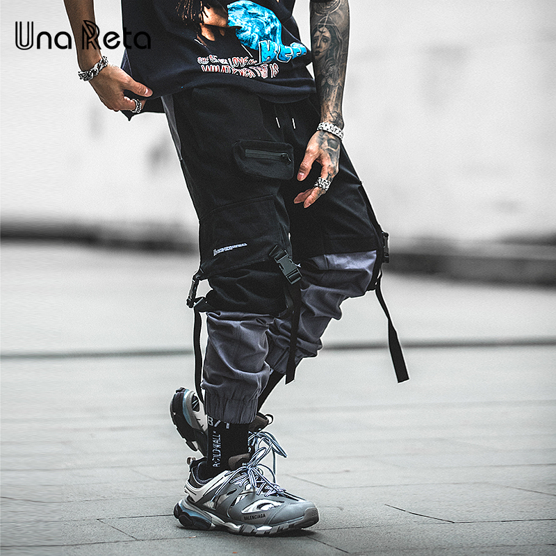 Una Reta Man Pants New Fashion Streetwear Stitching Color Joggers Hip Hop Long Pants Men Elastic Waist Cargo Pants Men(China)
