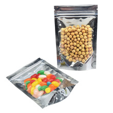 14*20cm Clear Stand Up Zip Lock Mylar Foil Package Bags Resealable Grip Seal Aluminum Packing Bag for Candy Food Nut Grain