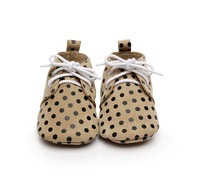Free Shipping 100 Genuine Leather Unique Polka Dot Suede Sole Shoes Baby Toddler Baby Moccasins Lace