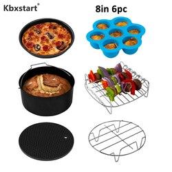 Kbxstart 8 Inch 6 Piece/Set Air Fryer Accessories freidora sin ace Fit For 5.2QT-5.8QT Electric Deep Fryer Parts Kitchen Tools