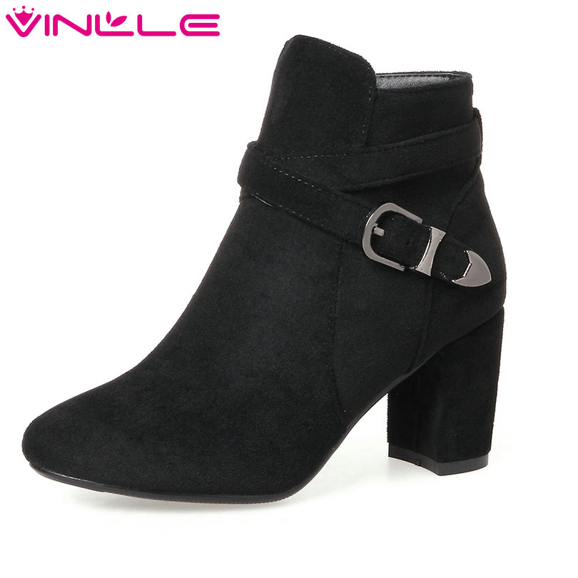 VINLLE 2018 Women Shoes Winter Ankle Boots Pointed Toe Square High Heel Buckle Ladies Motorcycle Shoes Size 34-43 amourplato women s pointed toe flats ballet shoes ankle buckle strap stacked heel dress shoes ladies ballerinas comfort shoes
