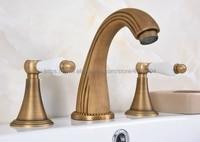 Antique Brass Bathroom Sink Faucet Widespread 3pcs Ceramics Handles Basin 3 Holes Mixer Tap Nan091