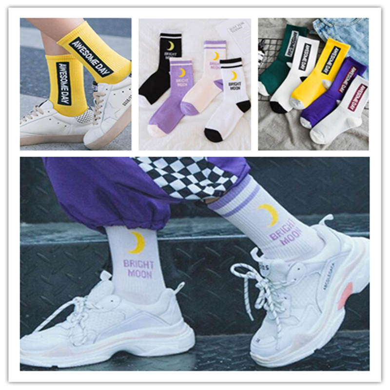 Bright Moon Cotton   Socks   Fashion Harajuku Label Girl   Socks   Good Day Chaussette Hip Hop Skateboard Sokken Happy Lady   Socks