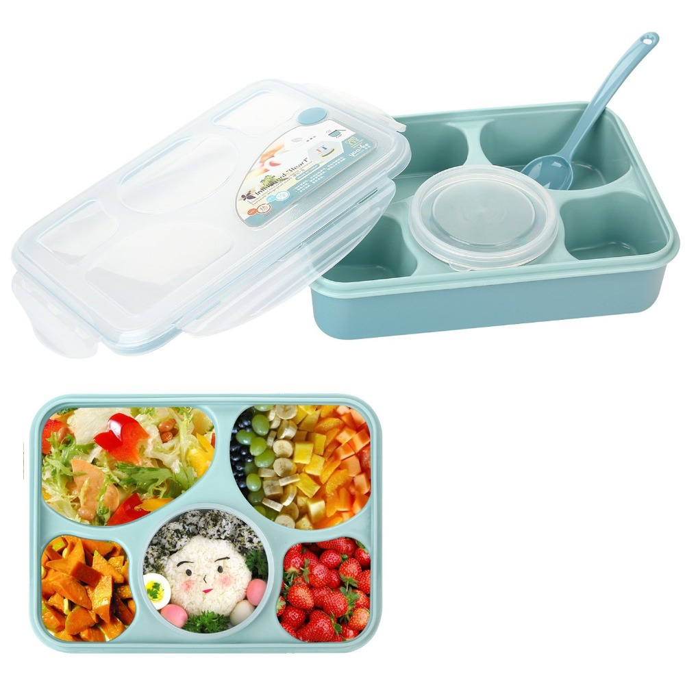 Bento Lunch Box Fully Sealed Food 5-compartment Bento Box Soup Bowl With Plastic Scoop Pratos Microwave Meal(00116)