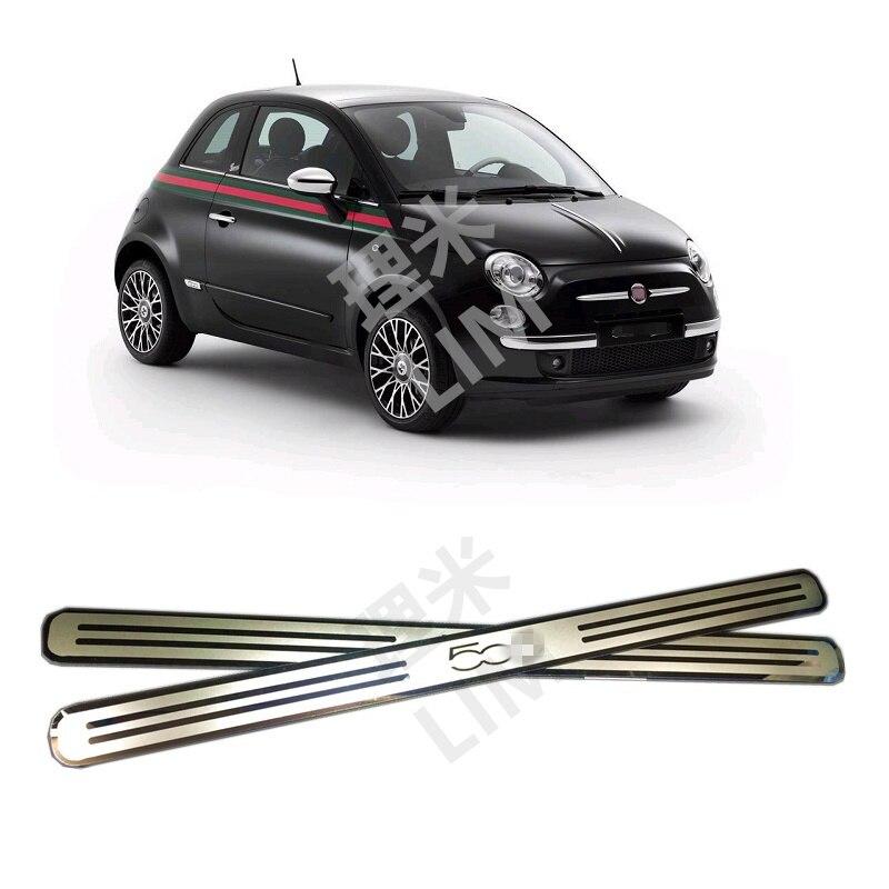 Adequado para FIAT 500 500C Superfície do Espelho de Aço Inoxidável do Peitoril Da Porta Da Placa do Scuff Capa Guarnição Styling Acessórios Do Carro