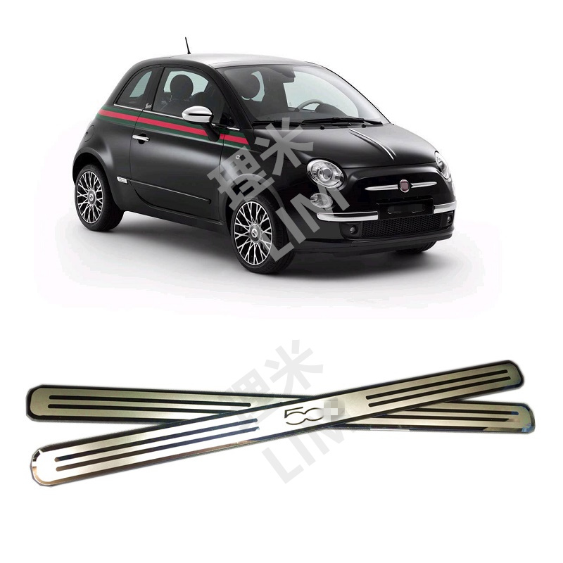 Suitable For FIAT 500 500C Stainless Steel Mirror Surface Scuff Plate Door Sill Cover Trim Car Styling Accessories