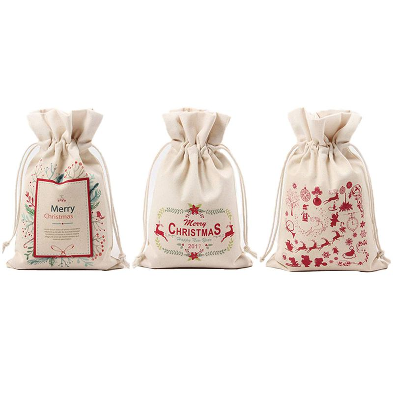 Christmas Gift Bags,Drawstring Organza Gift Packages Santa Sack Wedding Candy Wrap Bags, 9.5inch X 6.3inch Reusable Linen Pouc