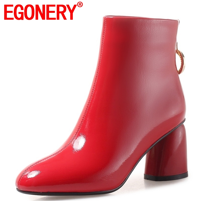 EGONERY 2018 winter new fashion patent leather women shoes high square heel zipper round toe three colors large size ankle bootsEGONERY 2018 winter new fashion patent leather women shoes high square heel zipper round toe three colors large size ankle boots