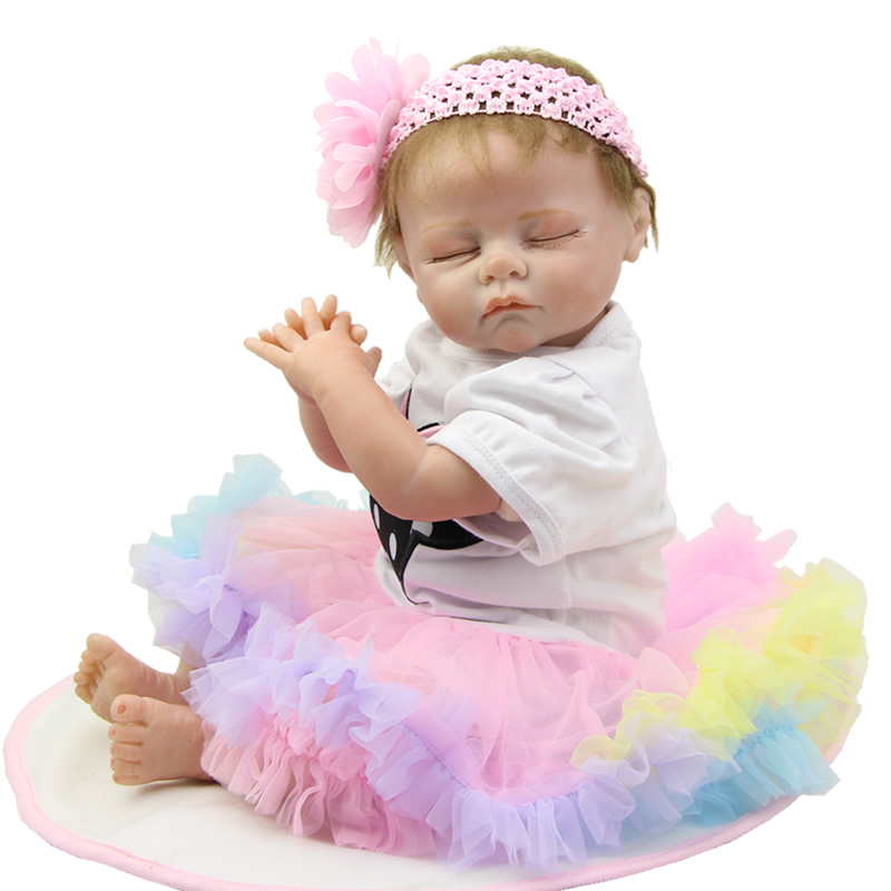 Collectible 22 Inch Sleeping Reborn Baby Doll Silicone Soft Newborn Babies Lifelike Princess Girls Dolls Kids Birthday Xmas Gift can sit and lie 22 inch reborn baby doll realistic lifelike silicone newborn babies with pink dress kids birthday christmas gift
