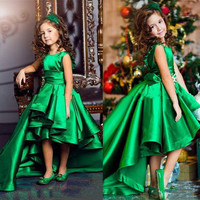 Emerald Green Girls Pageant Dresses High Low Princess Flower Girls Dresses For Weddings Lovely Kids Birthday Party Dresses 2019