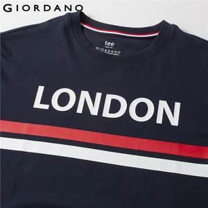 Image 5 - Giordano Мужская футболка, мужские футболки с округлым вырезом, с контрастным принтом, с буквенным принтом, мужские модные тренды с коротким рукавом, мужская одежда