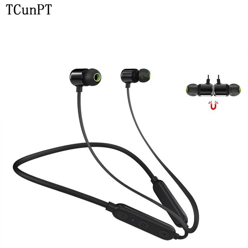 TCunPT nouveau casque magnétique Bluetooth IPX4 étanche écouteurs bande de cou casque écouteur sans fil avec micro pour Iphone Xiaomi