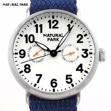 Swiss Quartz Mov Fashion Brand Watch Men Casual Wristwatch NATURAL PARK relojes hombre Bule Nylon Strap Calendar / Week 3ATM