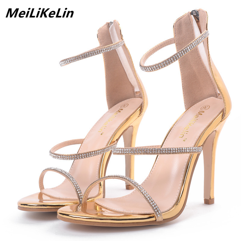 f62ffe61f273 MeiLiKeLin Three Narrowband Rhinestone Women Sandals Heels 11cm Thin Heel  Sexy Career Sandals Woman Gold High Heels Shoes Summer-in High Heels from  Shoes on ...
