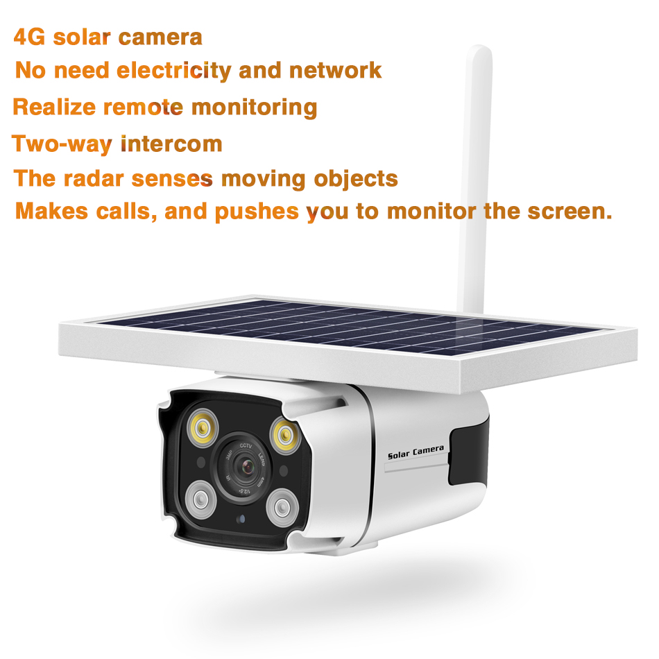 HD 1080P 2MP 4G Waterproof Solar Smart IP Camera IP67 Wireless Night Vision Outdoor Security Camera App Remote Control Monitor