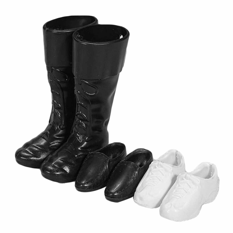 3 pares de zapatos de muñeca zapatillas blancas zapatos formales negros botas accesorios para Barbie hombres Ken muñeca juguetes niños cumpleaños Navidad regalos