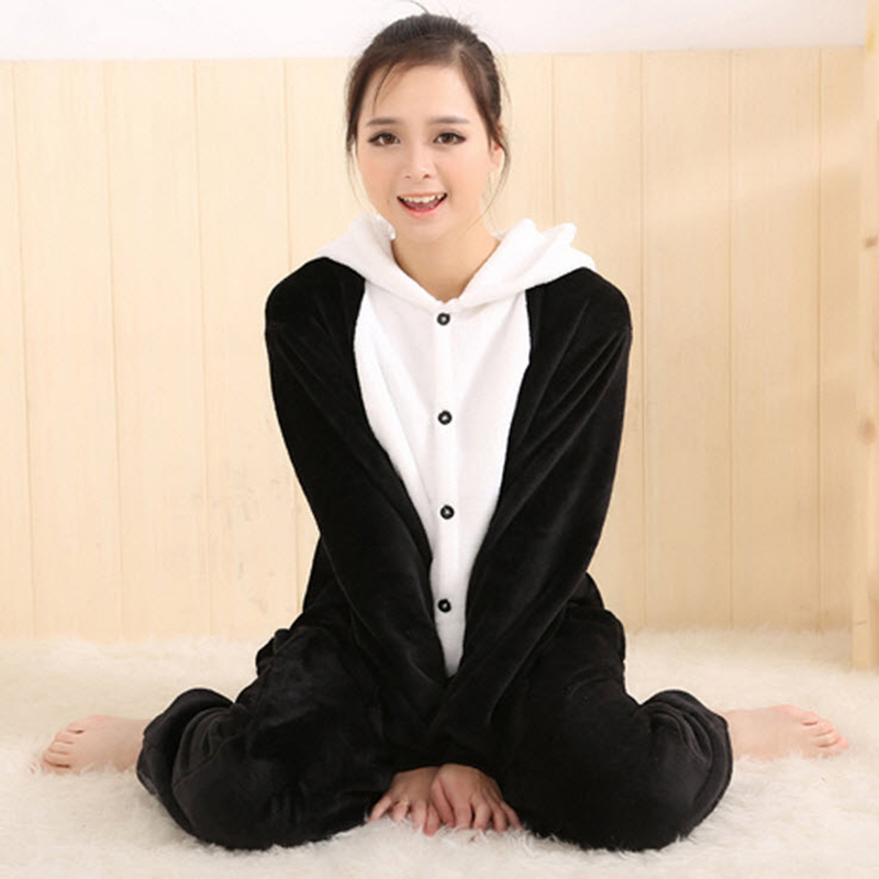 Original Womens Panda Animal Costume Full Sleeve Polyester Robe Female Sleep Lounge Onesies Pajamas ...