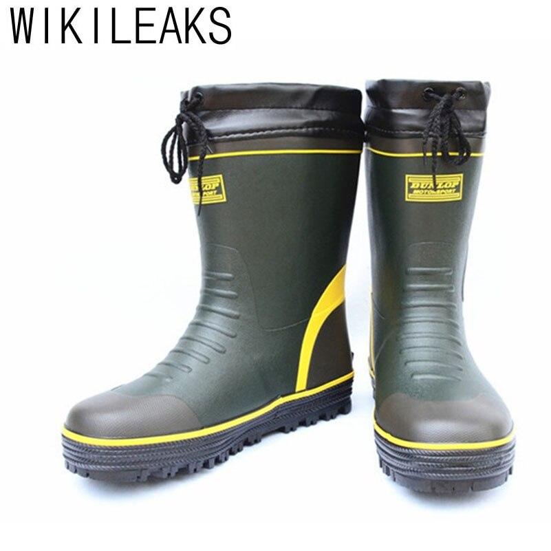 Shoes Mens Fashion Tube Rain Boots Men Pvc Camouflage Wear Non-slip Rain Boots Mens Work Labor Insurance Shoes High Boots Wide Varieties Men's Shoes