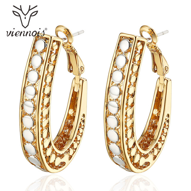 Viennois Gold Color Hoop Earrings for Women Silver Color Dot Hollow  Earrings Female Earrings Trendy Jewelry 0915577c7c69