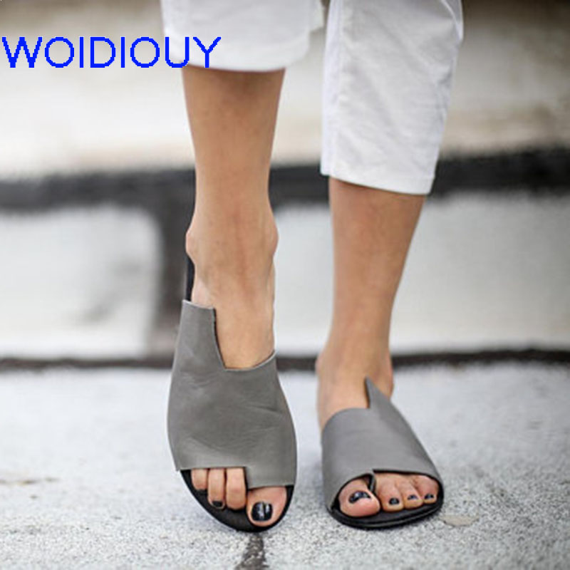 a468626280695 Grey Sandals for Women Handmade Summer Slipper Toe Ring Sandals Flip flops  Beach Shoes Women Slippers Ladies Flats Shoes-in Low Heels from Shoes on ...
