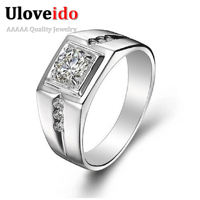 Uloveido Silver ColorKpop Male Ring for Men Jewelry Crystal Anel Masculino Engagement Wedding Men's Rings Alibaba-express J473