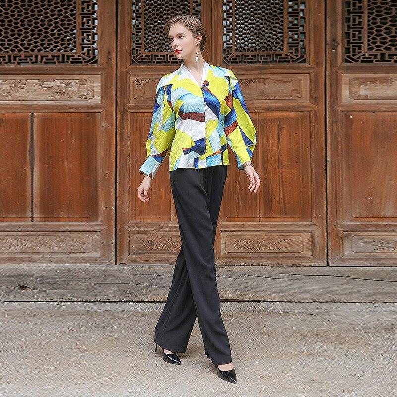 Impression À Femmes 2018 Manches La Perles Kimono Jaune D'été Blouse Soie Tops B7730 Voa Taille Casual Mignon Animé Plus Longues Printemps TpfvqpxU