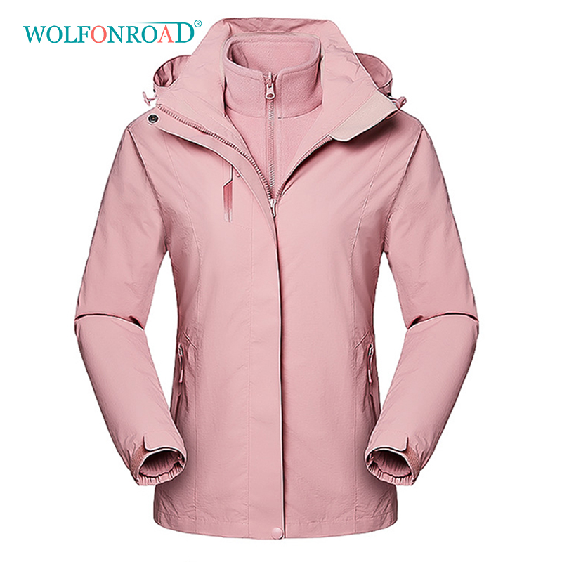 wolfonroad women 2 piece jackets waterproof outdoor sport thermal jacket coat winter hiking camping windbreaker mountain jackets WOLFONROAD Women 2 Piece Jackets Waterproof Outdoor Sport Thermal Jacket Coat Winter Hiking Camping Windbreaker Mountain Jackets