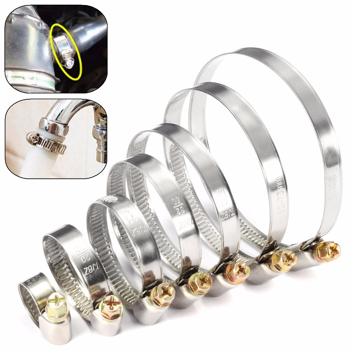 5Pcs 8-80mm Durable Anti-oxidation Pipe Clamps Stainless Steel Hose Clips Fuel Hose Pipe Clamps Worm Drive