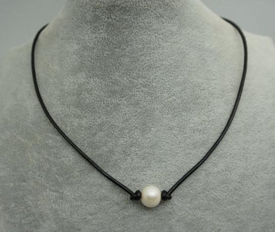 9fb5234bd13be US $6.0 |Leather Pearl Choker Necklace,White Color Freshwater Pearl Black  Leather Necklace,Birthday Wedding Jewelry-in Choker Necklaces from Jewelry  & ...