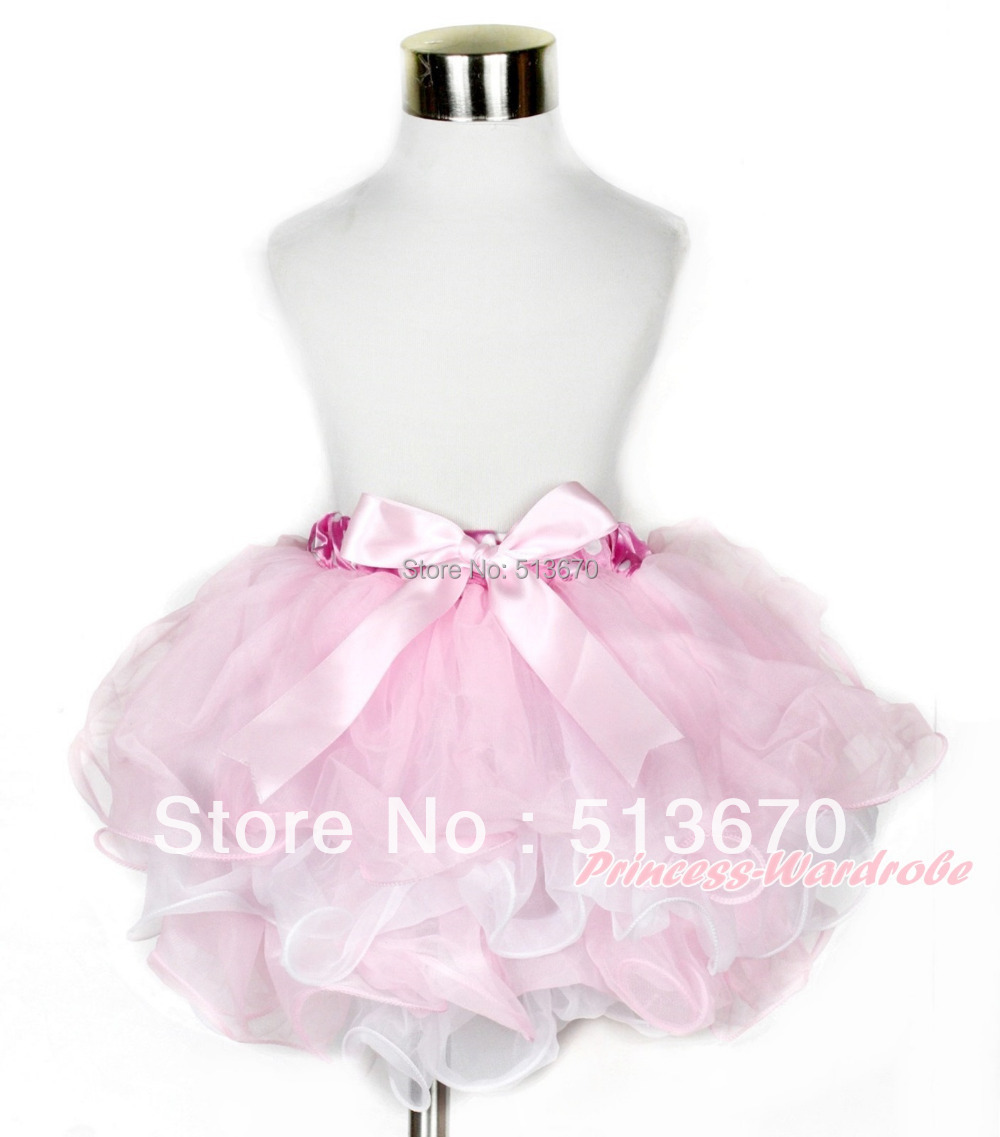 Light Hot Pink Pettiskirt Skirt with Light Pink Ruffles Top 2PC Set Girl 1-8Year