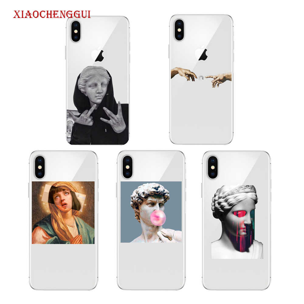 Alternatif Patung Seni Pola TPU Soft Phone Cell Phone Case untuk iPhone 8 7 6 6S Plus X XR XS Max 5 5 S 11 Pro Max Cover Conque