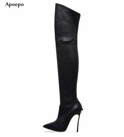Apoepo Fashion Pointed Toe Stretch leather Boots 2018 Sexy Over the knee Boots Butterfly-knot Decorations Thigh high Boots