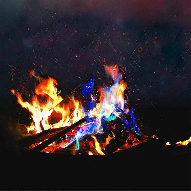מיסטי אש קסמים מדורה מחנה אש נוצץ להבות שקית אבקה פירוטכניקה אח בור פאטיו צעצוע