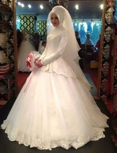 Long Sleeve Muslim Lace Wedding Dresses With Hijab High Neck White Tulle Ball Gown Bride Dress Arabic Dubai Bride Bridal Gown