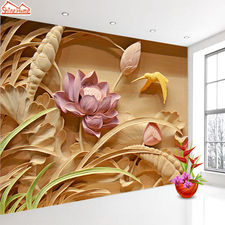 ShineHome-Large Custom Photo Wallpapers 3d Living Room Wood Carving Lotus Flower Landscape Office Home Bedroom Mural Wall Paper good working original used for power supply board pd46av1 csm bn44 00498d pslf930c04q 95% new