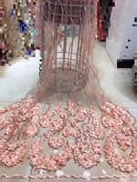 Best Quality African Lace Fabric with full beads Lace High Quality Embroidery 3D Applique French Tulle Lace Fabric 5yards