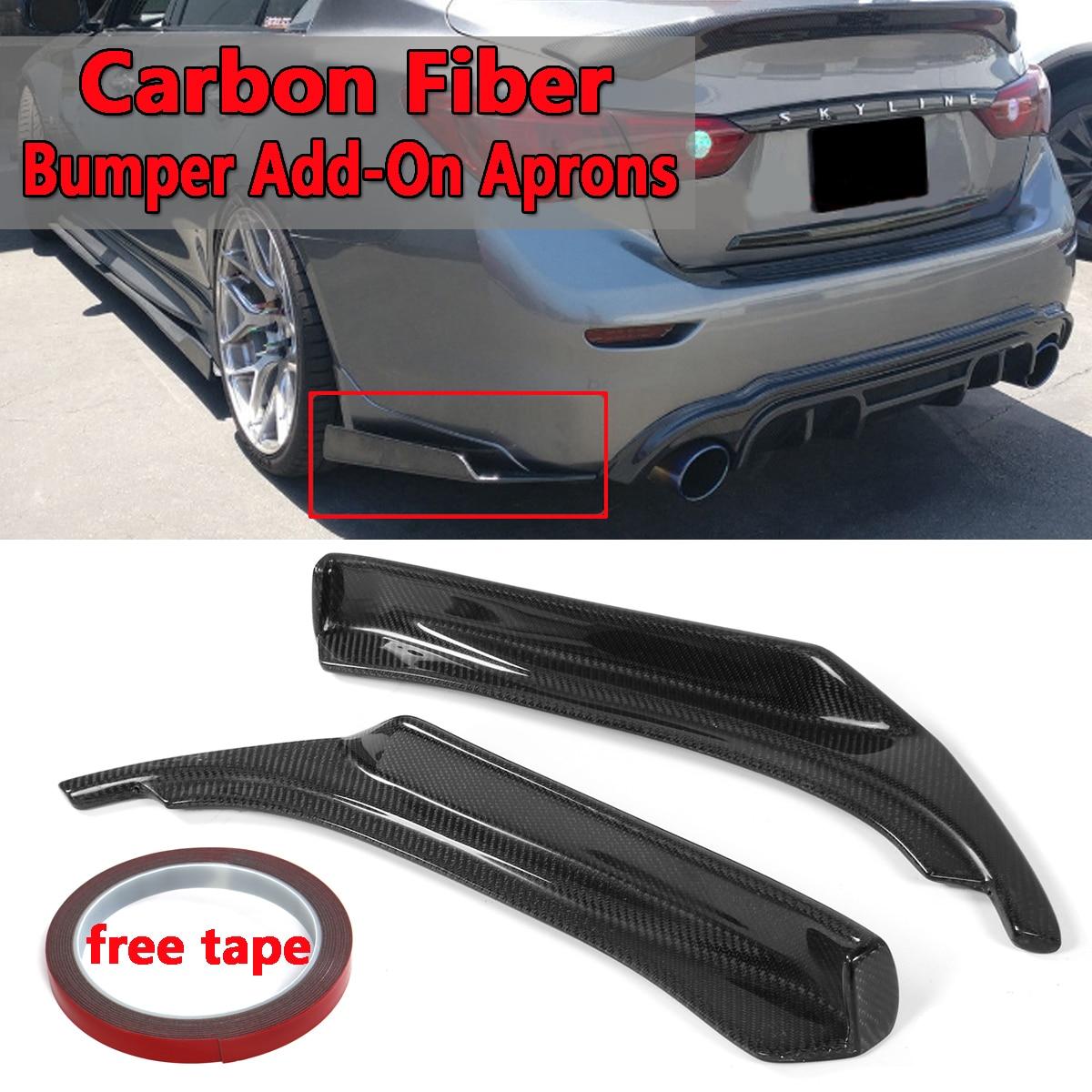 1 paire de tabliers latéraux noirs pour pare-chocs arrière pour Infiniti Q50 2014-2017 tabliers supplémentaires pour pare-chocs arrière en Fiber de carbone