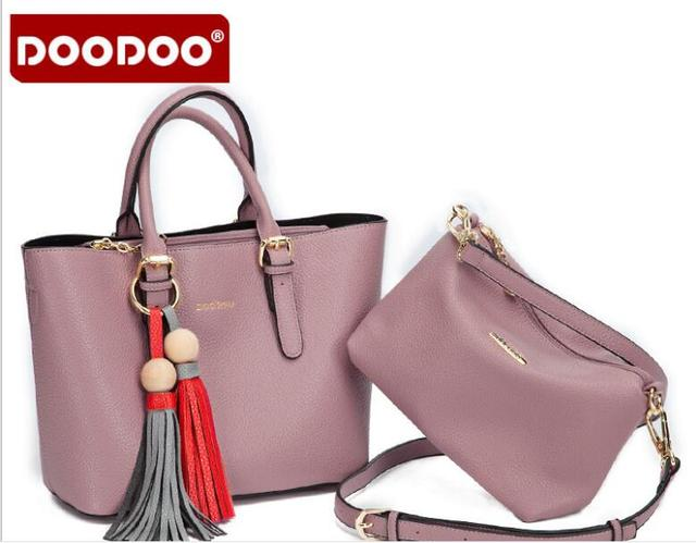 2869c857f9 DOODOO Leather Women Bags Handbags Woman Famous Brands Composite Bag  Shoulder Bag High Quality Tote Bag Tassel Gift FR407