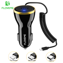 FLOVEME 2 Types Car Charger For Phone Mini USB Car-Charger For iPhone X Samsung