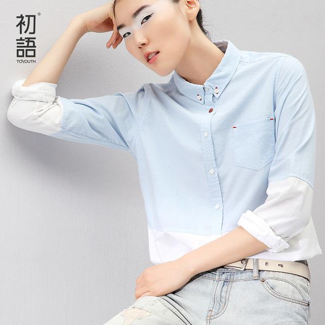 Toyouth Novo Estilo Mulheres Blusa Ocupação Gradient Cor de Todos Os Jogos Single-Breasted Completo Manga Camisas