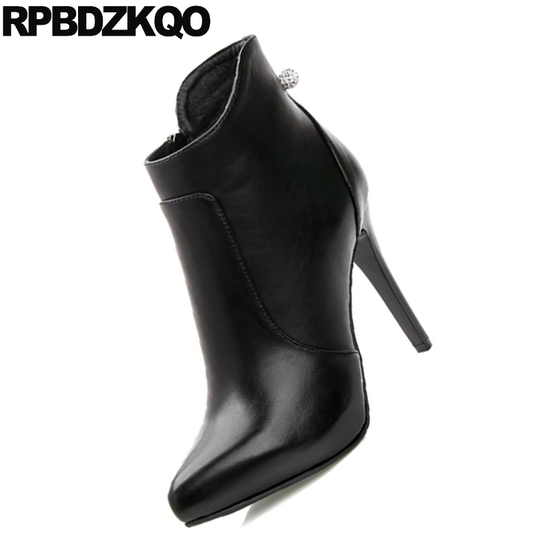 Size 34 Women Waterproof Short Fur Rhinestone Stiletto Sexy Booties Side  Zip Boots Platform European High Heel Pointy Fashion-in Ankle Boots from  Shoes on ... 32b80ff971ae