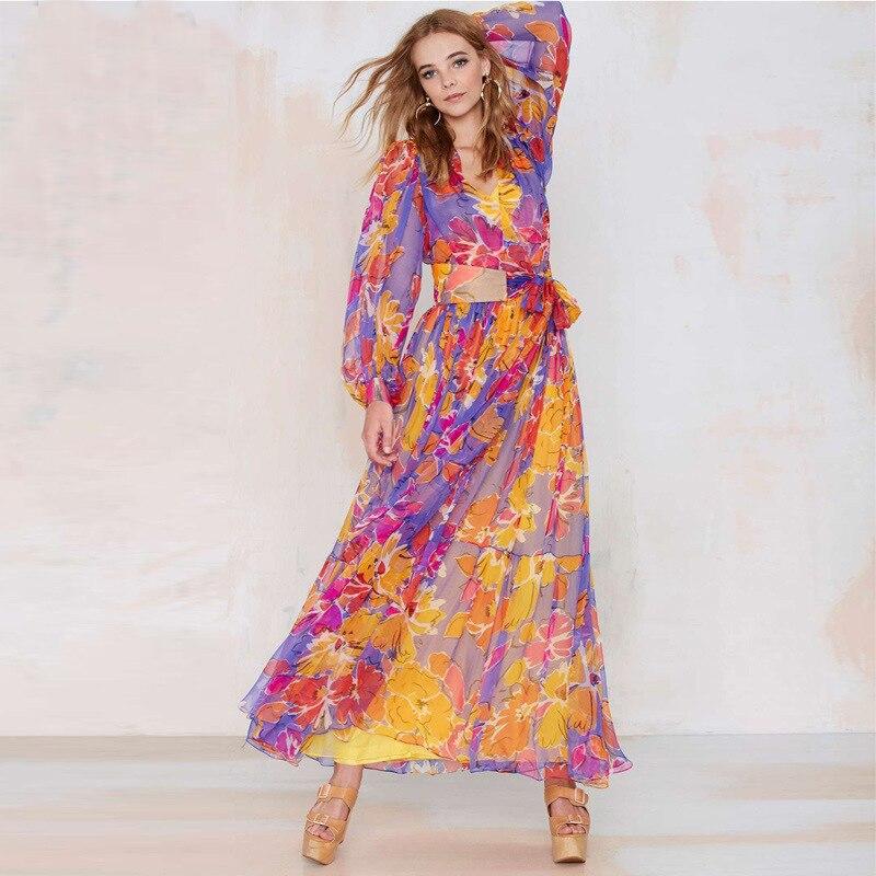 2016 Women Dress Summer V-neck Long Chiffon Floral Print Elegant Gorgeou Kimono Fashion Maxi Beach - Ellacey Store store