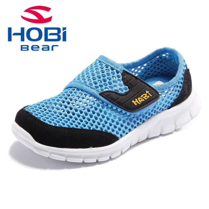 Kids Shoes for Girls Boys Sneakers Summer Breathable Slip on Tennis Mesh Spring Training Shoes for Children Brand Hobibear A555