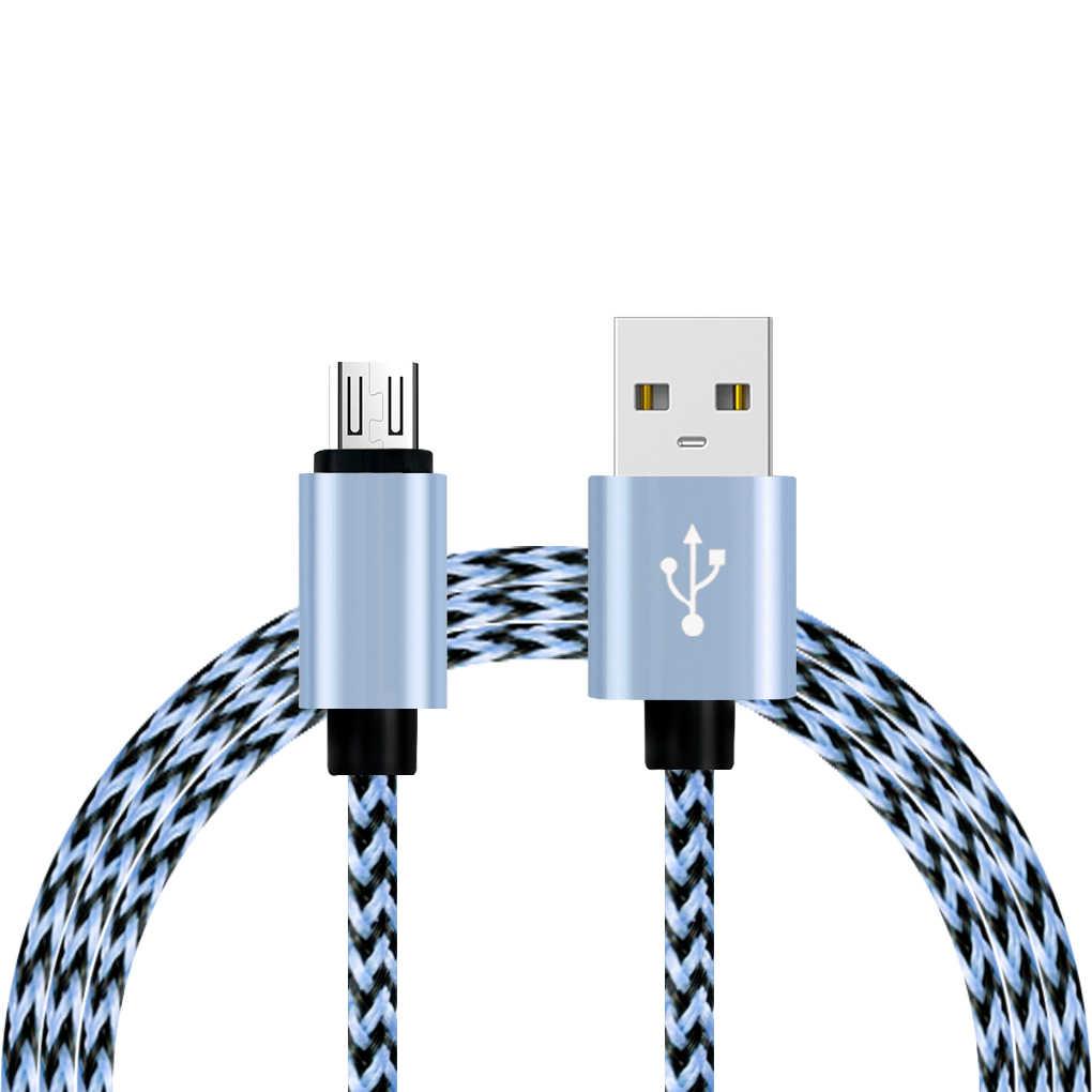 Universal 0.9 M Nilon Dikepang Cepat Pengisian Ponsel USB Kabel Charger untuk Samsung untuk Xiao Mi untuk LG untuk Huawei