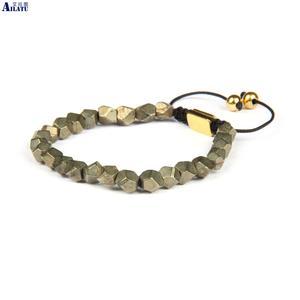 Image 2 - Ailatu benzersiz hediyeler, erkek el kesim boncuklu doğal pirit taş makrome bilezik takı erkekler ve kadınlar için
